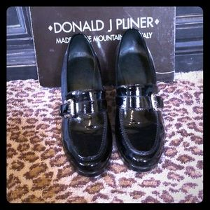 "Donald J Pliner""Jontel""Blk Patent wedge loafer 9.5"